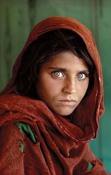 Steve McCurry's portrait of a young Afghan Refugee Woman
