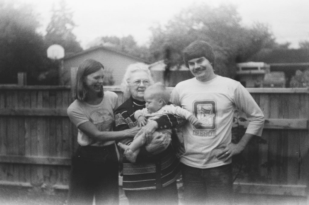 The owner of the camera Faye Gardner (in middle) with grandson Mel Purvis (right), his wife Karen, and their son Tristan
