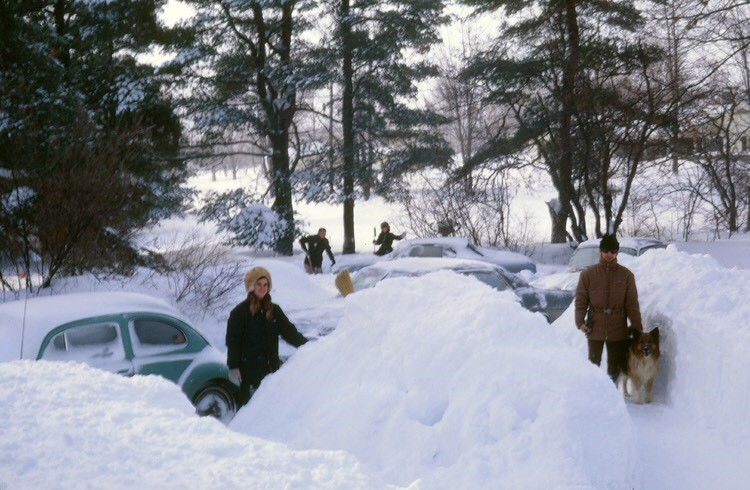 Digging out our cars after a typical show storm