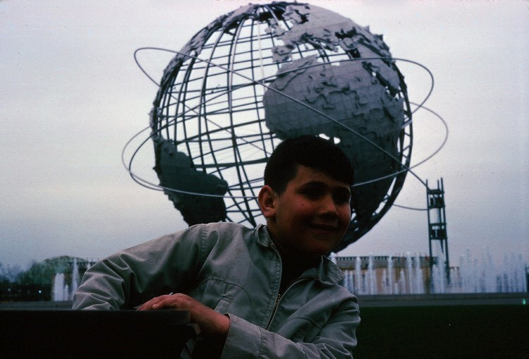Me in front of the Unisphere at the New York Worlds Fair in 1964