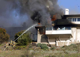 Southern California house on fire